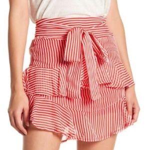 Cute Red and White striped ruffled mini skirt